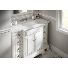 Picture Collection Website Shop allen roth Vanover White Undermount Single Sink Bathroom Vanity with Natural Marble Top