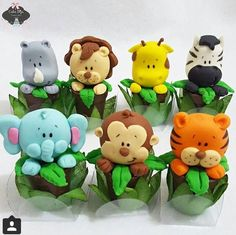 Animales Jungle Cupcakes, Jungle Cake, Jungle Party, Safari Birthday Party, 1st Birthday Cakes, 1st Boy Birthday, Safari Cakes, Fondant Animals, Animal Cakes