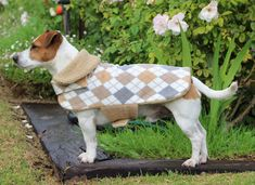 Tan Fleece Argyle Dog Jacket by CustomDogJacket on Etsy