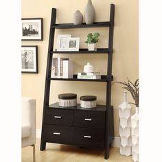 Wooden Ladder Bookshelf with Storage Drawers