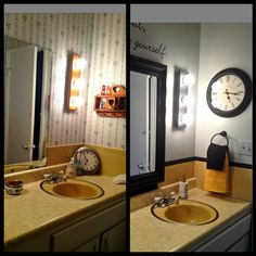 Mary Homann S Harvest Gold Bathroom Before And After Martha Mirror From Home Depot