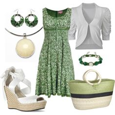 green dress, created by danyellefl01 on Polyvore