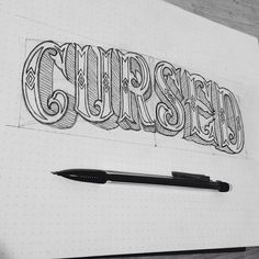 hand lettering by Eric Way, cursed, circus, carnival, type, pencil, pen, design, illustration