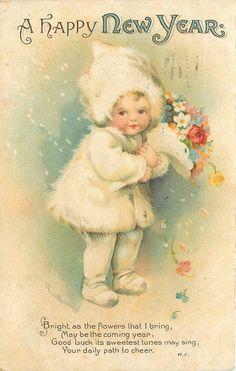 Ellen H Clapsaddle~New Year~Lil Girl~White Fur Snowsuit~Bouquet~Emboss~Intl Art