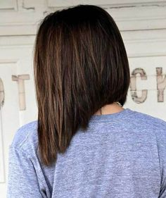Dark Brown Inverted Bob Haircut