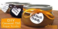 Easy Coconut Oil Sugar Scrubs   deliciousobsessions.com