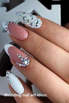 47 Creative Wedding Nails Ideas For Bride - Nails - Nageldesign Simple Wedding Nails, Wedding Nails For Bride, Bride Nails, Wedding Nails Design, Prom Nails, Fun Nails, Bling Wedding Nails, Rhinestone Wedding, Weding Nails