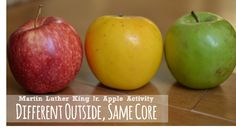 MLK apple lesson on diversity...different outside, same core