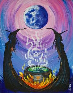 Witch Painting, Autumn Painting, Diy Painting, Painting & Drawing, Beginner Painting, Painting Tutorials, Halloween Canvas Paintings, Halloween Painting, Halloween Art