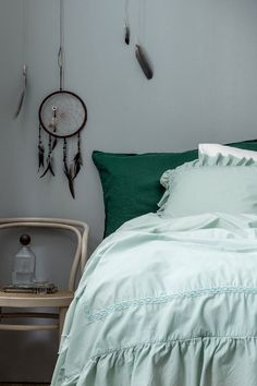 Soft new sheets, pillowcases and duvet covers in crisp colours are an easy way to refresh your bedroom.   H&M Home