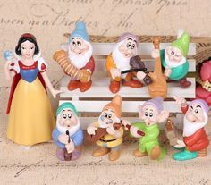 This listing is for a 8 piece figurine playset with characters from the Disney movie... Snow White! These are great for cake toppers to decorate a cake, to give as birthday party favors, or to use as toys to play with! These are genuine toys. No retail box or retail packaging. All characters are individually wrapped in clear bags and sealed together in a clear OPP/CPP bag. Toys may have slight imperfections but doesnt affect overall appearance. We will ship in a box to ensure safe delivery…