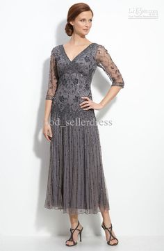 perfect length and can wear a support bra Wholesale Sexy Chiffon Mother of The Bride Dresses V-Neck Half Sleeves Ankle Length Beads Sequin Sexy Evening Dresses Elegant Formal, Free shipping, $168.18/Piece | DHgate