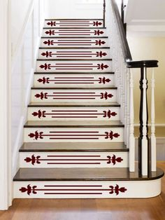 Maintain a traditional look and add an attractive accent in your foyer without lifting a paintbrush. Available in more than 40 colors.About $50 for a set of 10 decals; Etsy/FleurishWallsFor a more eye-catching look, use paint to create upbeat stair risers.
