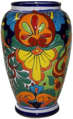 Colorful Mermaid Talavera Flower Vase ** Be sure to check out this awesome product. (This is an affiliate link and I receive a commission for the sales) Mexican Colors, Mexican Flowers, Mexican Art, Clay Flower Pots, Ceramic Flowers, Flower Vases, Pottery Painting, Ceramic Painting, Painted Glass Vases