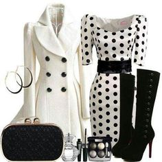 Polka Dot Dress & Long white Coat but think i would change the boots out for a simple black heel Cute Fashion, Look Fashion, Vintage Fashion, Womens Fashion, Vintage Style, Dress Vintage, Classy Outfits, Chic Outfits, Bcbg