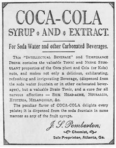 Coca-Cola was originally advertised as a cure for morphine and opium addictions, though the original formula allegedly called for 8.46 mg of cocaine.    Here it is touted as a Temperance Drink