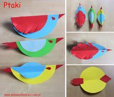 Ptaszki z kolorowych papierowych kółek