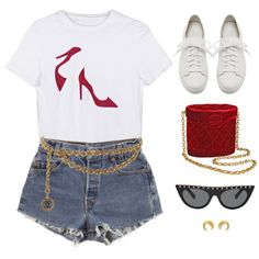 A fashion look from August 2017 by aliensforsale featuring Santoni, Dogeared, Valentino, Chanel e Levi's