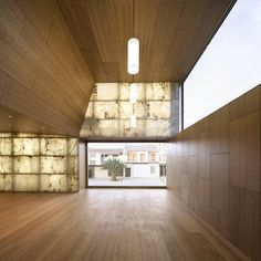 Civic Hall by Magén Arquitectos. I love how the light filters through the alabaster blocks in the facade.