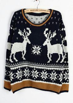 Navy Long Sleeve Deer Snowflake Christmas Sweater EUR€12.67