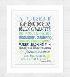 Teacher Appreciation Print - End of Year Teachers Gift - Personalised Teachers Gift - A Great Teacher - Printable File! by DaLiMiCreative on Etsy https://www.etsy.com/listing/233241698/teacher-appreciation-print-end-of-year