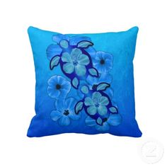Blue Hibiscus And Honu Turtles Throw Pillows
