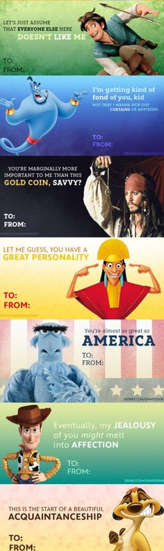 Brutally Honest Disney Valentine's Day Cards