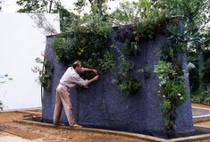 Patrick Blanc installing the plants at Chaumont-sur-Loire, 1994