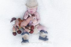Crochet cowboy hat and matching cowboy by TheLovelyyarns on Etsy, $30.00