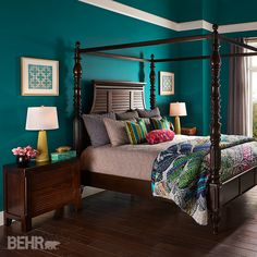 Deep Dreams: Dark colors will transform a #bedroom into a dreamy, mythical landscape. Layers of color and texture are found in the bedding, bringing bright pops of color for volume and interest. #2015ColorTrends #BehrPaint Featured Color: Essential Teal T15-3
