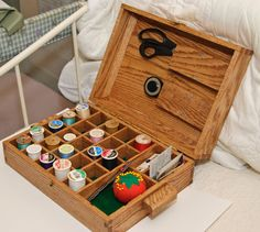 Sewing Storage Box by jimmywatkins on Etsy $62.00 & Vintage Small Wooden Sewing Box Storage Drawer 60s | Wooden sewing ...