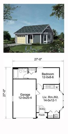 House Plan 95834 - Ranch, Traditional Style House Plan with 421 Sq Ft, 1 Bed, 1 Bath, 1 Car Garage Br House, Tiny House Cabin, Sims House, Tiny House Design, Garage House, Garage With Apartment, Apartment Ideas, Two Bedroom Tiny House, Tiny Guest House
