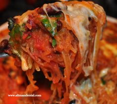 Spaghetti Squash Bake: made with beans and greens, topped with low fat cheese, a great meal. #glutenfreerecipes full of anti-oxidants and protein for healing #spaghettisquash #toothfood www.toothfood.com