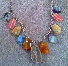 Wire wrapped gemstone charm necklace