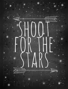Shoot for the Stars Chalkboard Typographic Print by PrinterPeeps