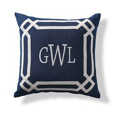 Great Oikos Indigo Monogrammed Outdoor Pillow
