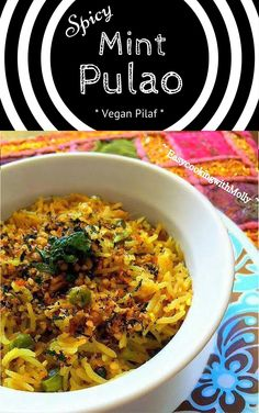 Spicy Mint Pulao (Vegan Mint Rice) - Packed with Flavors. #vegan #pilaf #recipes #rice