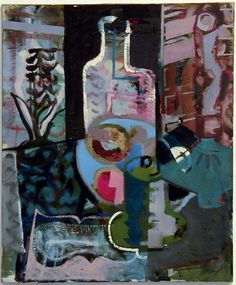 Patrick Heron Still-Life with Bottle, Hyacinth, Lamp, Fruit and Percolator : 1947 oil on canvas 24 x 20 in / 61 x cm Great Paintings, Beautiful Paintings, Kids Art Class, Art For Kids, Peter Wood, Patrick Heron, Still Life Flowers, Painting Collage, Painting Abstract