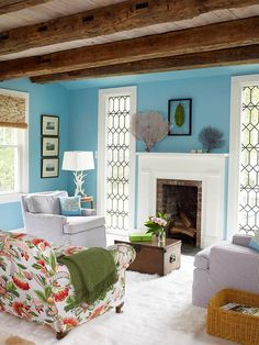 like the idea of floating furniture in my living room in the center, maybe with a sofa table behind the print love seat-Comfy Color Scheme My Living Room, Home And Living, Living Spaces, Living Area, Paredes Aqua, Aqua Walls, Sweet Home, Blue Color Schemes, Color Combos