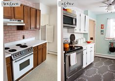 cheap kitchen makeover...love the paint color, stainless, white cabinets, microwave up high above stove with shelf, pot rack