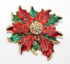 Vintage signed Eisenberg Ice POINSETTIA rhinestone enamel CHRISTMAS pin BROOCH #EisenbergIce
