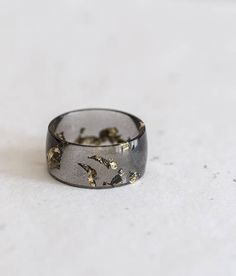 Wide Band Black Resin Ring Men Women Ring Gold Flakes Big Size 10 Smooth Ring OOAK for him minimal chic minimalist jewelry