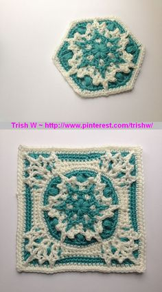 Blizzard Warning! snowflake block, free pattern by Polly Plum. Can be made as a hexagon or a square.  . . .  ღTrish W ~ http://www.pinterest.com/trishw/  . . . #crochet
