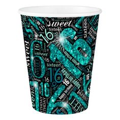 #Sweet Sixteen Sparkle Word Cloud Teal ID265 Paper Cup - #elegant #gifts #stylish #giftideas #custom