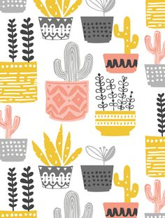 Get a cactus wallpaper for phone and free desktop calendar exclusively designed for Mollie Makes by Wendy Kendall. Patterns In Nature, Pretty Patterns, Textures Patterns, Floral Patterns, Free Ipad Wallpaper, Pattern Wallpaper, Wallpaper Desktop, Phone Wallpapers, Cactus Fabric