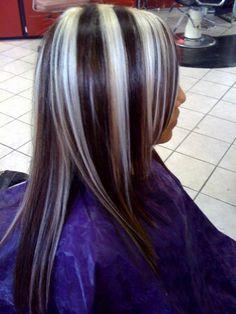 Image result for platinum blonde streaks on black hair meme