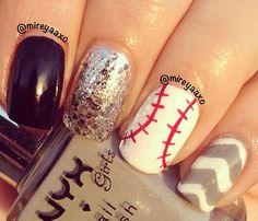 Baseball nails Softball Nails, Baseball Nails, Baseball Art, Love Nails, How To Do Nails, Pretty Nails, Simple Acrylic Nails, Acrylic Nail Designs, Baseball Nail Designs