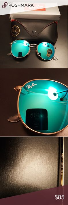 Nwt/RB 3447/50-21/www.ray-ban.com The Ray-Ban round Metal sunglasses are totally retro. This look has been worn by legendary musicians and inspired by the 1960s counter-culture when this style first originated.The Ray-Ban unisex metal, iconic sunglasses are known for their defined round crystal lenses and distinct shape. They do not come with the cloth or manual, case is new but not original, sunglasses are new. Curved brow bar, adjustable nose pads, and thin metal temples with plastic end…