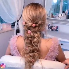 Gorgeous hairstyle tutorial by @lalasupdos Box Braids Hairstyles, Wedding Hairstyles, Hairstyles Videos, Damp Hair Styles, Curly Hair Styles, Casual Wedding Hair, Hair Wedding, Wedding Makeup, Curly Hair Updo