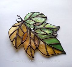 Stained Glass Pendant September. Autumn leaves. by DizArtEx